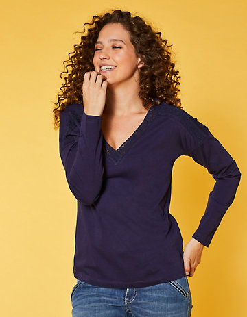 Deerberg Jersey-Shirt Jola blaubeere