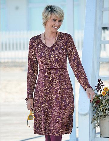 Deerberg Jersey-Kleid Ilaria portwein-bedruckt