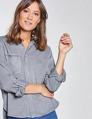 Laura Deerberg Tencel-Longbluse Frauke neutralgrau-washed