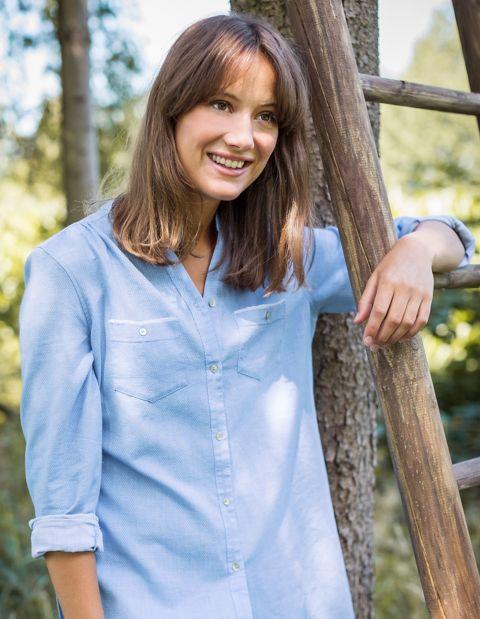 Image of Laura Deerberg Baumwoll-Longbluse Klea, Blau