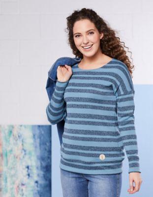 elkline Fleece-Pullover Lotti flachs-gestreift