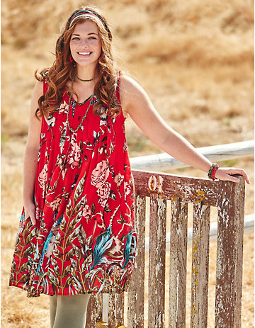 Deerberg Baumwoll-Kleid Liara rot-bedruckt