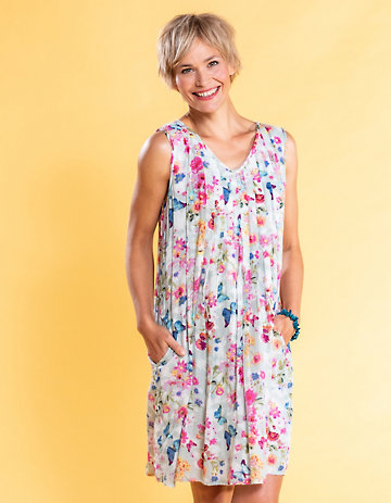 Deerberg Baumwoll-Kleid Liara pastellmint-bedruckt