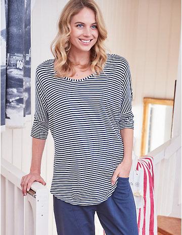 Deerberg Jersey-Shirt Henrike marine-gestreift