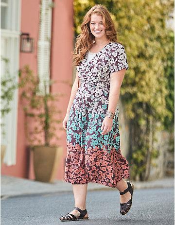Deerberg Druck-Kleid, kurzarm Ortensia boysenbeere-geblümt