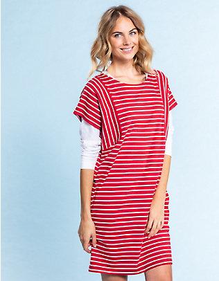 Deerberg Sweat-Kleid Sintje rot-cremeweiß-gestreift