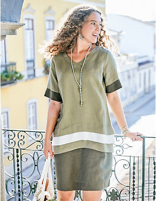 Deerberg Leinen-Kleid Avea olivgrün