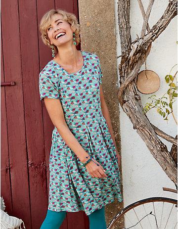 Deerberg Jersey-Kleid Jorike aqua-bedruckt