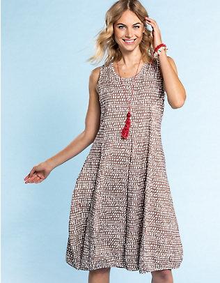 Deerberg Jersey-Kleid, ärmellos Algea taupe-bedruckt