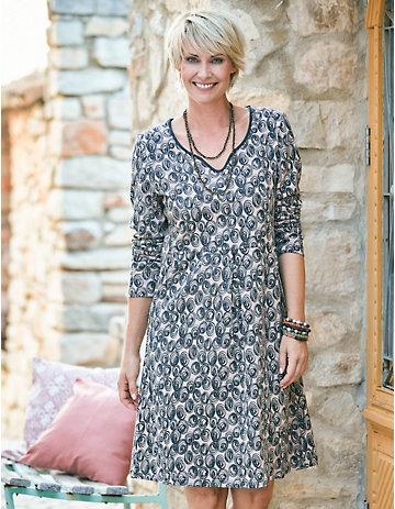 Deerberg Jersey-Kleid Seetha beige-bedruckt
