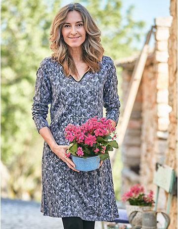 Deerberg Jersey-Kleid Seetha hortensienblau-bedruckt