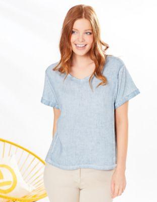 Deerberg Leinenmix-Shirt Leenke hellkosmosblau-washed