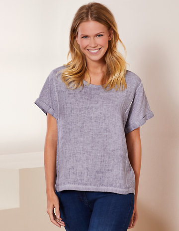 Deerberg Leinenmix-Shirt Leenke mittelgrau-washed