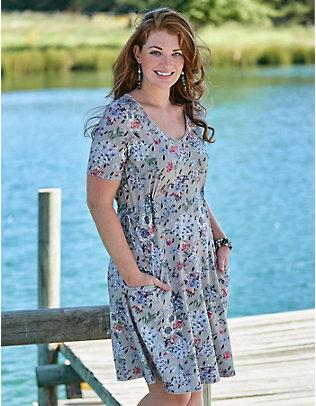 Deerberg Jersey-Kleid Linnia kreide-geblümt