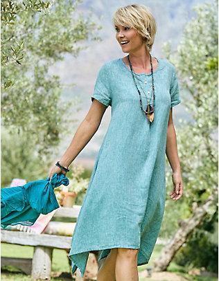 Deerberg Leinen-Kleid Tjara lagunenblau-melange