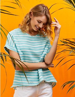 Deerberg Tencel-Shirt Kaatje aqua-gestreift