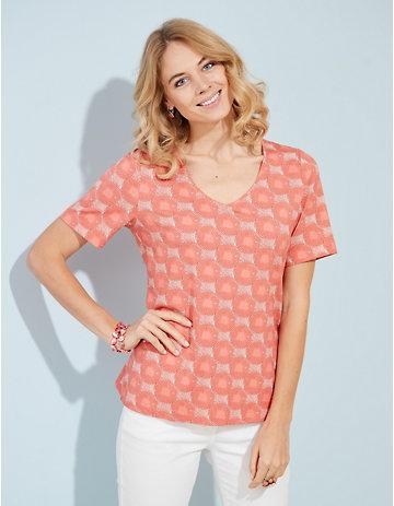 Deerberg Jersey-T-Shirt Dana Druck lachs
