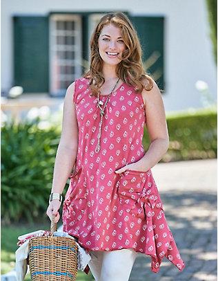 Deerberg Jersey-Kleid Fita nelkenrot-bedruckt