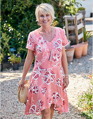 Deerberg Leinen-Kleid Tiril lachspastell-bedruckt