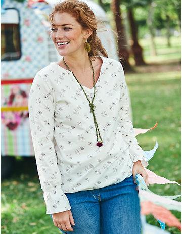 Deerberg Jersey-Shirt Sandya cremeweiß-bedruckt