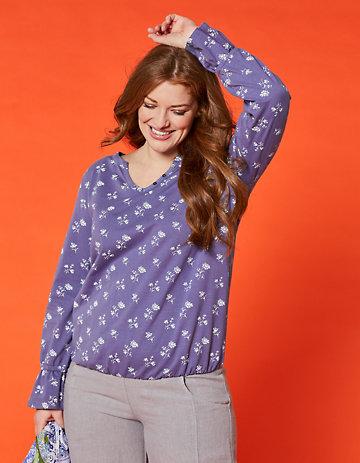 Deerberg Jersey-Shirt Sandya violablau-bedruckt