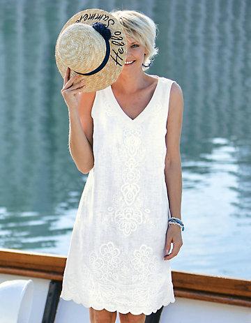Deerberg Leinen-Kleid Fumane weiß