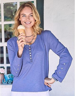 Deerberg Baumwoll-Shirt Vamika violablau