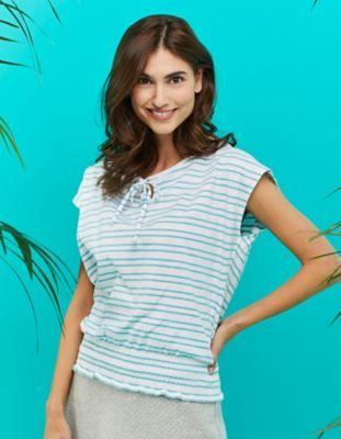 Laura Deerberg Baumwoll-Shirt Kersten aqua-weiß