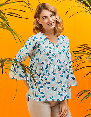 Laura Deerberg Baumwoll-Bluse Ghaliya blau-bedruckt