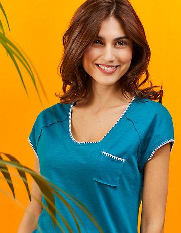 Laura Deerberg Jersey-Longshirt Ninna lagunenblau