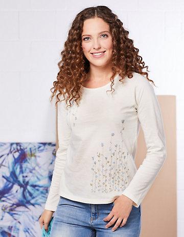 elkline Jersey-Shirt Dots cremeweiß