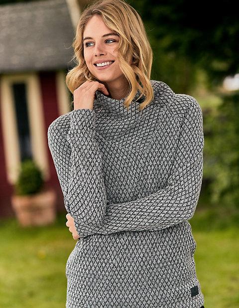Oberteile für Frauen - elkline Strickfleece Pullover Outwiththefam – grau  - Onlineshop Deerberg
