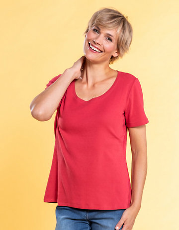 Deerberg Ajourjersey-T-Shirt Bertila nelkenrot