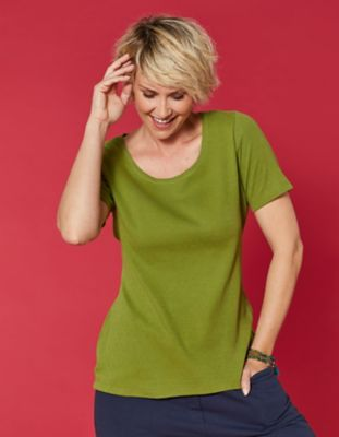 Deerberg Ajourjersey-T-Shirt Bertila wiese