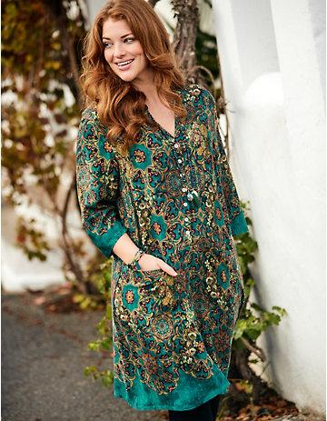 Deerberg Druck-Kleid Maraika wacholdergrün