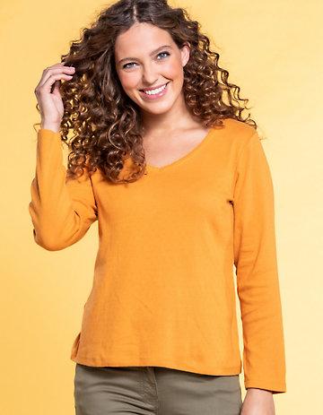 Deerberg Ajourjersey-Shirt Aleke aprikose