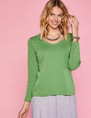 Deerberg Ajourjersey-Shirt Aleke grasgrün