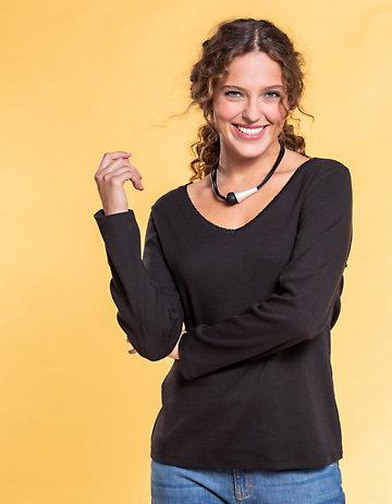 Deerberg Ajourjersey-Shirt Aleke schwarz