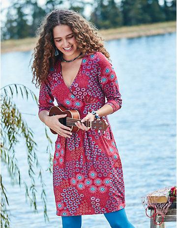 Deerberg Jersey-Kleid Marcelina rot-bedruckt