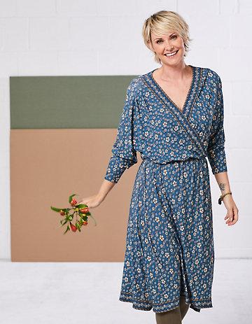 Deerberg Jersey-Kleid Neyla petrol-bedruckt