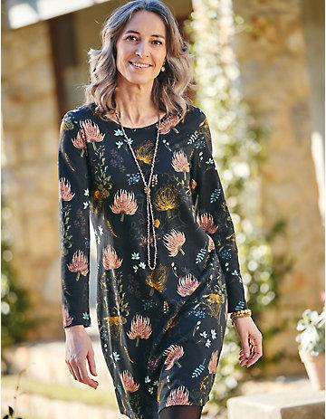 Deerberg Jersey-Kleid Hildrid schwarz-bedruckt