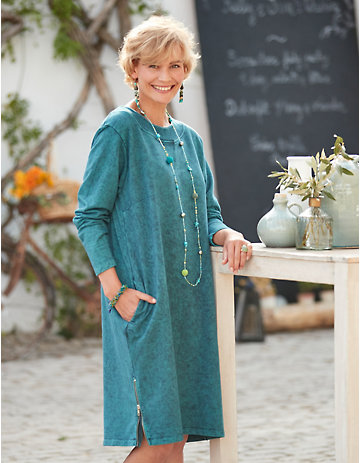 Deerberg Sweat-Kleid Hardina tiefpetrol-washed