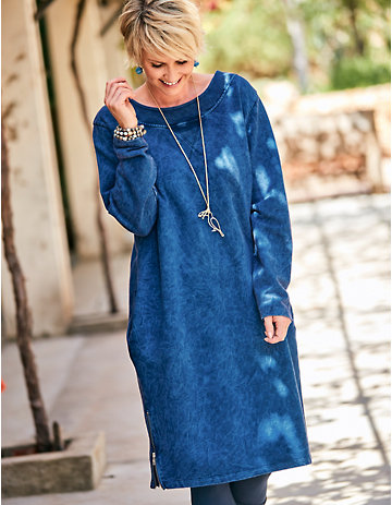 Deerberg Sweat-Kleid Hardina blaubeere-washed