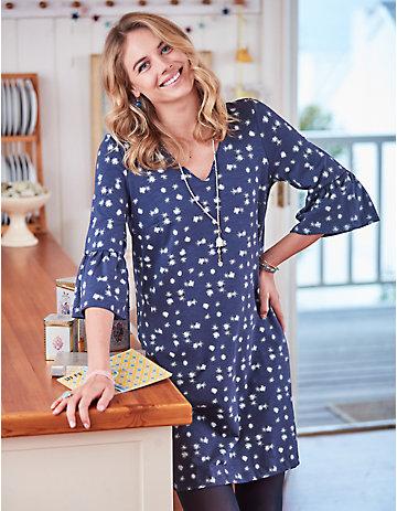 Deerberg Jersey-Kleid Sarijana indigo-bedruckt