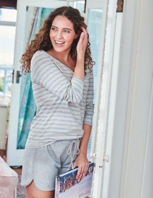 Deerberg Jersey-Shorts Tordis grau-melange