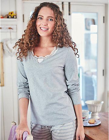 Deerberg Jersey-Shirt Neneh grau-melange