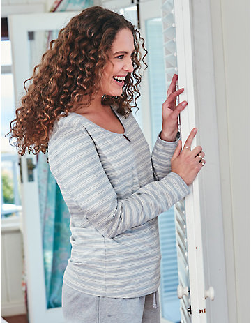 Deerberg Jersey-Shirt Neneh grau-melange-gestreift