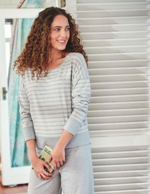 Deerberg Jersey-Shirt Hilla grau-melange-gestreift