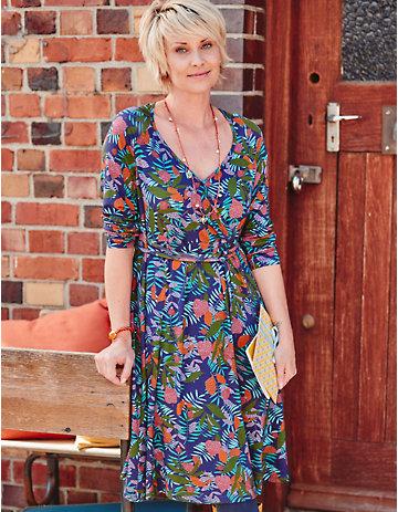 Deerberg Jersey-Kleid Oswalda blaubeere-bedruckt