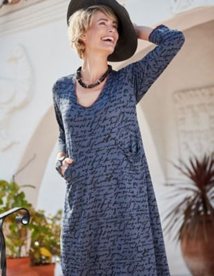 Deerberg Jersey-Kleid Katniss blau-melange-bedruckt